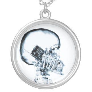 X-RAY SKELETON ON PHONE - BLUE SILVER PLATED NECKLACE