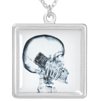 X-RAY SKELETON ON PHONE - BLUE SQUARE PENDANT NECKLACE