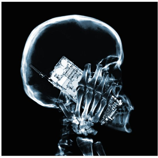 X-RAY SKELETON ON PHONE - BLUE STATUETTE