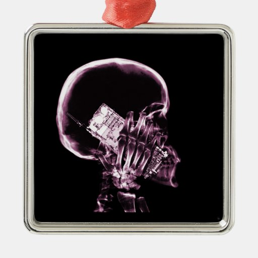 X-RAY SKELETON ON PHONE - PINK CHRISTMAS ORNAMENT