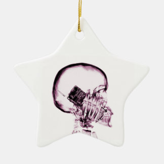 X-RAY SKELETON ON PHONE - PINK Double-Sided STAR CERAMIC CHRISTMAS ORNAMENT