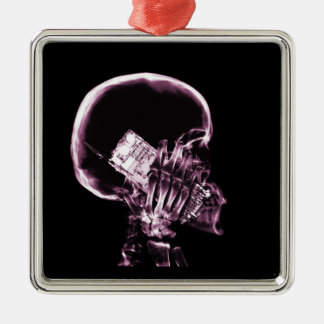 X-RAY SKELETON ON PHONE - PINK METAL ORNAMENT