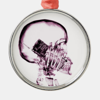 X-RAY SKELETON ON PHONE - PINK ROUND METAL CHRISTMAS ORNAMENT