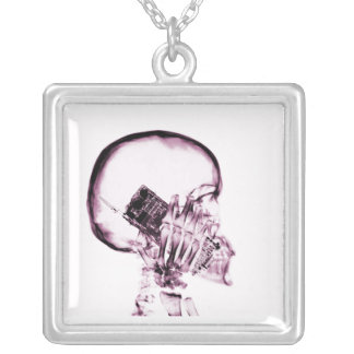 X-RAY SKELETON ON PHONE - PINK SQUARE PENDANT NECKLACE