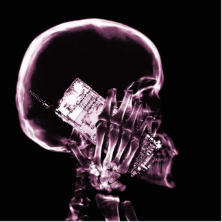 X-RAY SKELETON ON PHONE - PINK STATUETTE