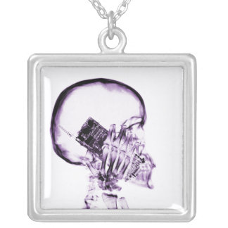 X-RAY SKELETON ON PHONE - PURPLE PERSONALIZED NECKLACE