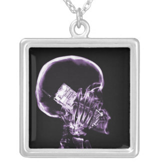 X-RAY SKELETON ON PHONE - PURPLE SQUARE PENDANT NECKLACE