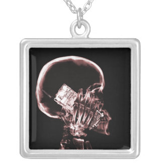 X-RAY SKELETON ON PHONE - RED SQUARE PENDANT NECKLACE