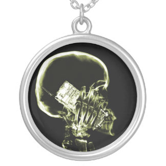 X-RAY SKELETON ON PHONE - YELLOW SILVER PLATED NECKLACE