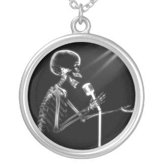 X-Ray Skeleton On Retro Microphone Round Pendant Necklace
