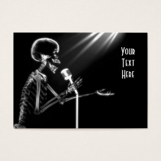X-RAY SKELETON SINGING ON RETRO MIC - B&W BUSINESS CARD