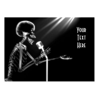 X-RAY SKELETON SINGING ON RETRO MIC - B W BUSINESS CARDS