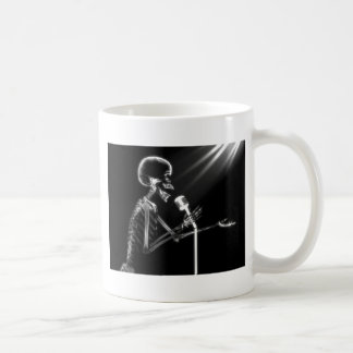 X-RAY SKELETON SINGING ON RETRO MIC - B&W CLASSIC WHITE COFFEE MUG