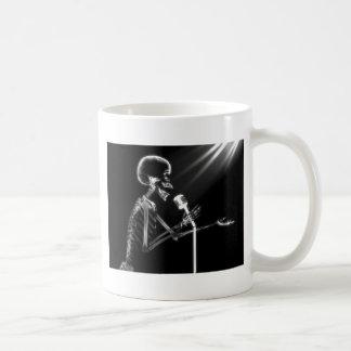 X-RAY SKELETON SINGING ON RETRO MIC - B&W COFFEE MUG