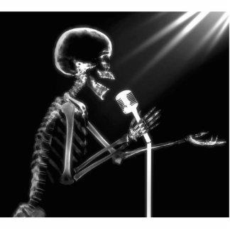 X-RAY SKELETON SINGING ON RETRO MIC - B&W CUTOUT