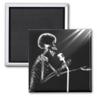 X-RAY SKELETON SINGING ON RETRO MIC - B W MAGNETS
