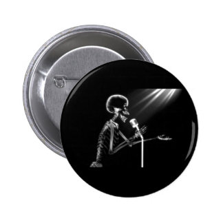 X-RAY SKELETON SINGING ON RETRO MIC - B&W PINBACK BUTTON