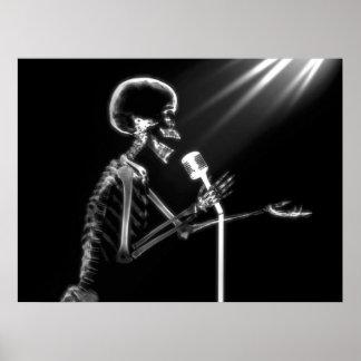 X-RAY SKELETON SINGING ON RETRO MIC - B&W POSTER