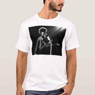 X-RAY SKELETON SINGING ON RETRO MIC - B&W T-Shirt