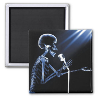 X-RAY SKELETON SINGING ON RETRO MIC - BLUE 2 INCH SQUARE MAGNET