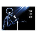 X-RAY SKELETON SINGING ON RETRO MIC - BLUE BUSINESS CARD TEMPLATES