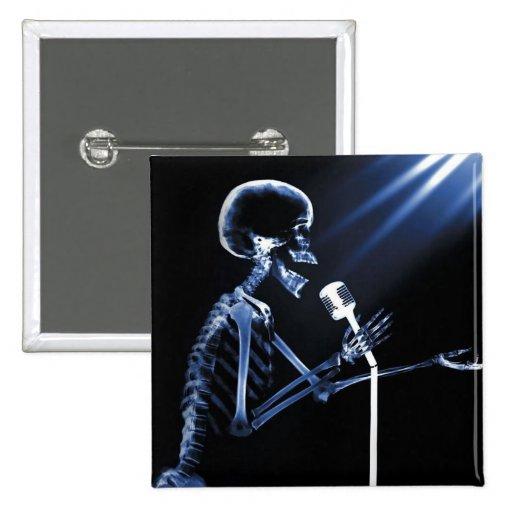 X-RAY SKELETON SINGING ON RETRO MIC - BLUE BUTTON