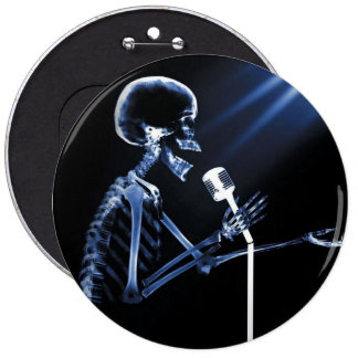 X-RAY SKELETON SINGING ON RETRO MIC - BLUE BUTTONS