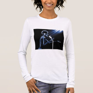 X-RAY SKELETON SINGING ON RETRO MIC - BLUE LONG SLEEVE T-Shirt
