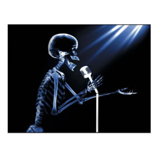 X-RAY SKELETON SINGING ON RETRO MIC - BLUE POSTCARD
