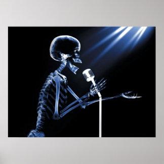 X-RAY SKELETON SINGING ON RETRO MIC - BLUE POSTER