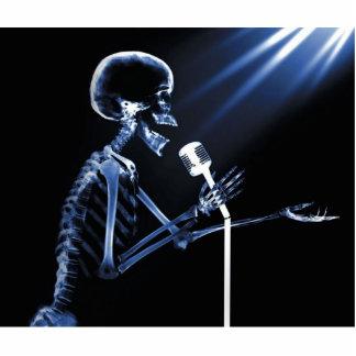 X-RAY SKELETON SINGING ON RETRO MIC - BLUE STATUETTE
