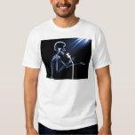 X-RAY SKELETON SINGING ON RETRO MIC - BLUE T-Shirt