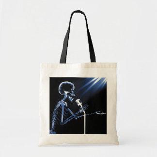 X-RAY SKELETON SINGING ON RETRO MIC - BLUE TOTE BAG