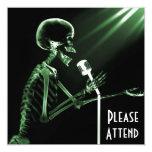 "X-RAY SKELETON SINGING ON RETRO MIC - GREEN 5.25"" SQUARE INVITATION CARD"