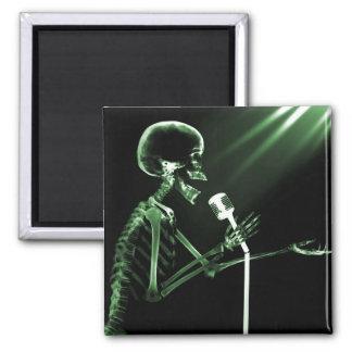 X-RAY SKELETON SINGING ON RETRO MIC - GREEN FRIDGE MAGNETS
