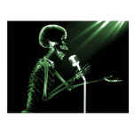 X-RAY SKELETON SINGING ON RETRO MIC - GREEN POSTCARD
