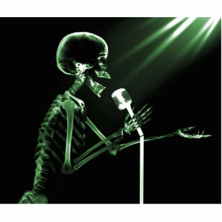 X-RAY SKELETON SINGING ON RETRO MIC - GREEN STATUETTE