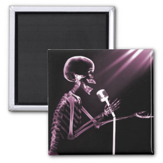 X-RAY SKELETON SINGING ON RETRO MIC - PINK 2 INCH SQUARE MAGNET