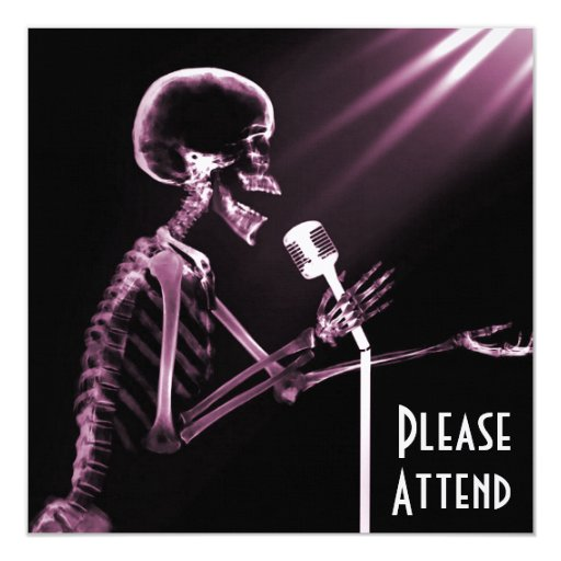 "X-RAY SKELETON SINGING ON RETRO MIC - PINK 5.25"" SQUARE INVITATION CARD"