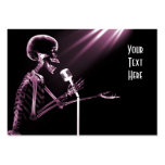 X-RAY SKELETON SINGING ON RETRO MIC - PINK LARGE BUSINESS CARDS (Pack OF 100)