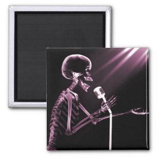 X-RAY SKELETON SINGING ON RETRO MIC - PINK FRIDGE MAGNETS