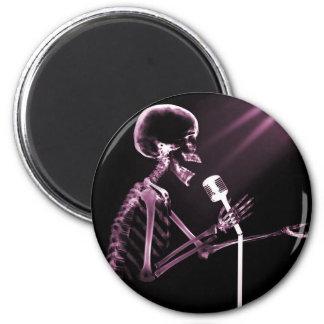 X-RAY SKELETON SINGING ON RETRO MIC - PINK REFRIGERATOR MAGNETS