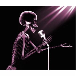 X-RAY SKELETON SINGING ON RETRO MIC - PINK PHOTO SCULPTURES