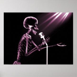 X-RAY SKELETON SINGING ON RETRO MIC - PINK POSTER
