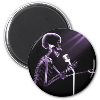 X-RAY SKELETON SINGING ON RETRO MIC - PURPLE 2 INCH ROUND MAGNET