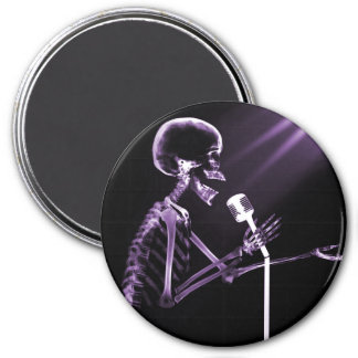 X-RAY SKELETON SINGING ON RETRO MIC - PURPLE 3 INCH ROUND MAGNET