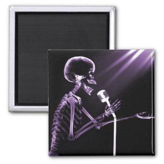 X-RAY SKELETON SINGING ON RETRO MIC - PURPLE REFRIGERATOR MAGNET