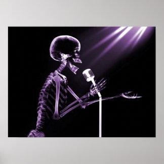 X-RAY SKELETON SINGING ON RETRO MIC - PURPLE POSTER