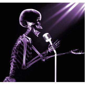 X-RAY SKELETON SINGING ON RETRO MIC - PURPLE STATUETTE