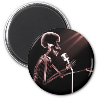 X-RAY SKELETON SINGING ON RETRO MIC - RED 2 INCH ROUND MAGNET